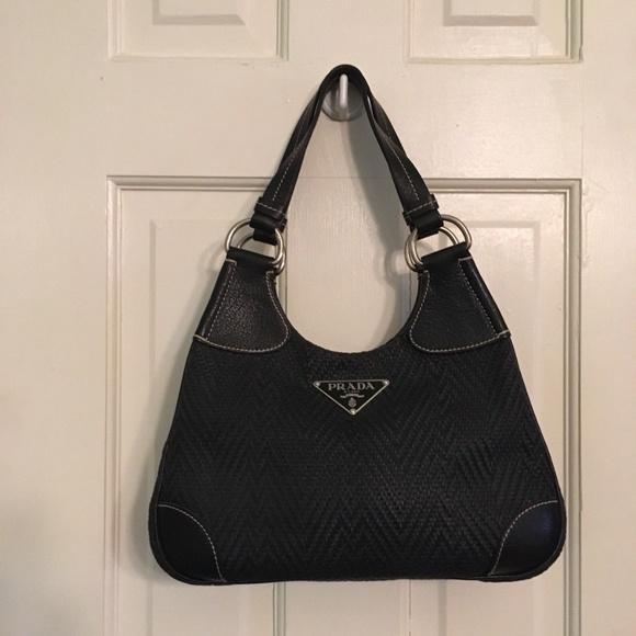 9942dda5da5d Prada Bags | Black Leathercloth Handbag Shoulder Bag | Poshmark